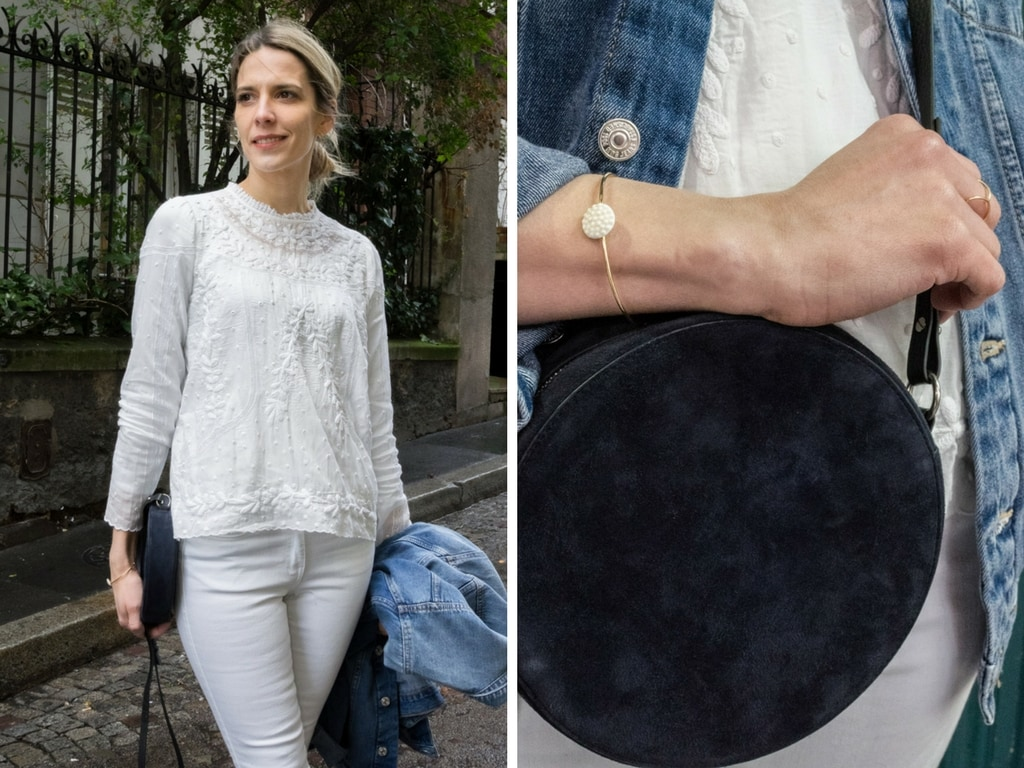 comment porter la blouse blanche brod e le dressing id al. Black Bedroom Furniture Sets. Home Design Ideas