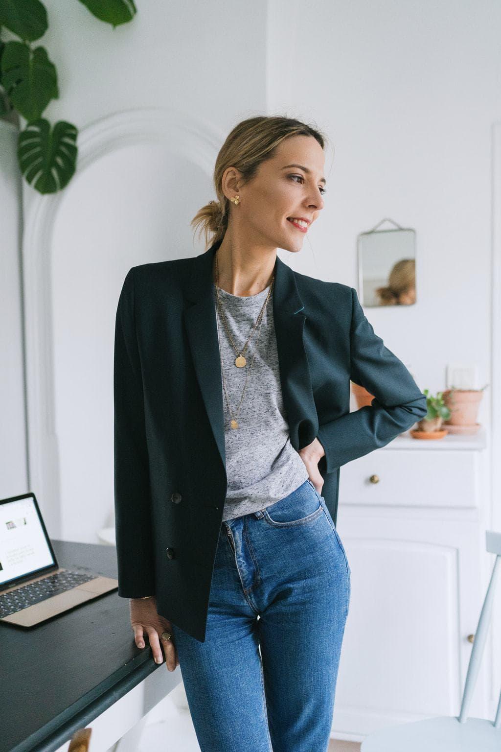 Tailleur jupe veste longue
